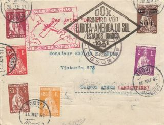 Dox Catapult Portugal To Argentina Extremely Rare Air Cover 1931