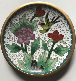 Old Family Estate,  A Fine Chinese Antique Cloisonne Plate / Dish Hummingbird