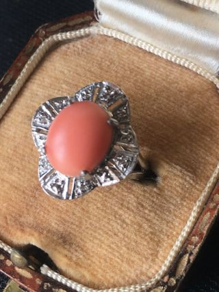 Vintage 14ct White Gold Natural Coral And Diamond Ring Circa 1950