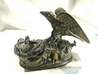 Antique American Eagle & Eaglets Cast Iron Mechanical Bank J E Stevens 1883