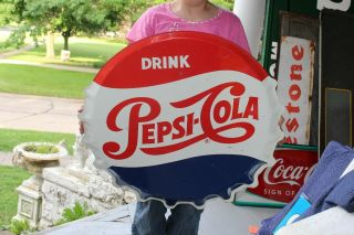 "Large Vintage 1963 Pepsi Cola Soda Pop Bottle Cap 31 "" Metal Sign"