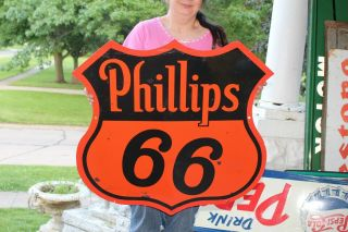 "Vintage 1948 Phillips 66 Gas Station Oil 2 Sided 30 "" Porcelain Metal Sign"