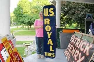 "Large Vintage 1954 U.  S.  Royal Tires Gas Station 60 "" Embossed Metal Sign"