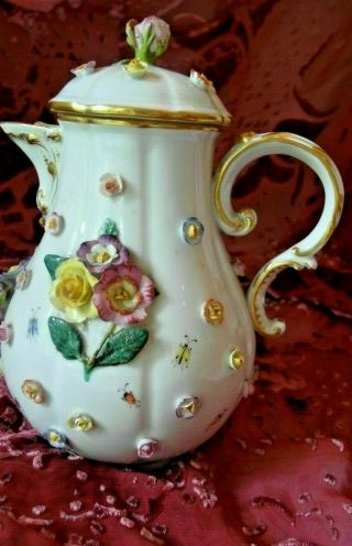 Rare Antique 18th C Meissen Porcelain Coffee Pot.  Flowers And Insects.
