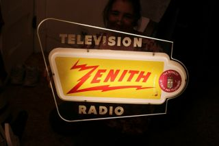 "Very Cool Vintage C.  1960 Zenith Television Radio Tv Gas Oil 27 "" Lighted Sign"
