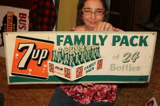"Rare Vintage 1952 7up 7 Up Family Pack Soda Pop Gas Station 30 "" Metal Sign"