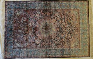 Vintage Kashmiri Pure Silk Hand Knotted Rug,  Apx.  4