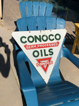 Vintage Porcelain Conoco Gas Oil Advertising Sign Rare &