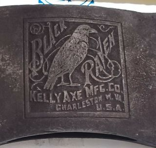 Vintage Kelly Black Raven Axe,  Double Bit Axe,  Embossed Logo Axe Head