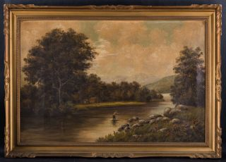 """Large Antique Hudson School Oil Painting """" Fishing In River """""""