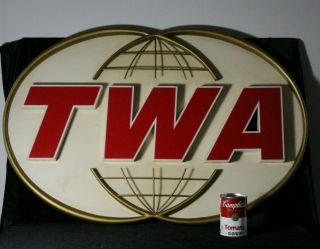 Large Vintage Twa Trans World Airlines Plane Advertising Sign