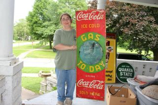 "Rare Vintage C.  1930 Coca Cola Soda Pop Gas Today 48 "" Embossed Metal Sign"
