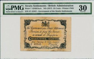 Government Of Straits Settlements 25 Cents Nd (1917) Rare Pmg 30