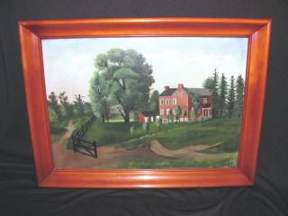 Antique American Oil On Canvas Painting Circa 1870