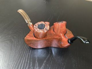 Sven Lar Double Briar Pipe Set.  Extremely Rare.  Pristine