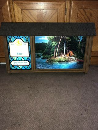 Vintage Hamm's Beer Scenorama Campfire Waterfall Motion Moving Lighted Sign