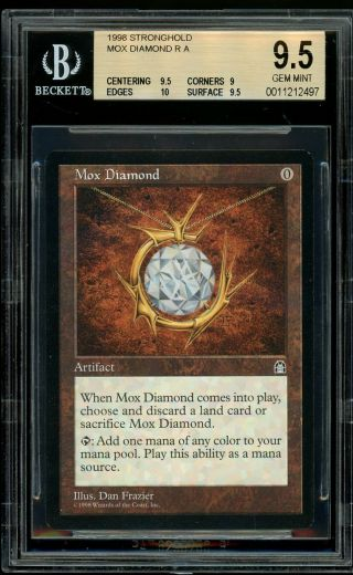 Mox Diamond - Stronghold,  Bgs 9.  5 Gem.  Mtg (pop 1 Of 59)