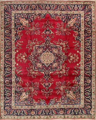 One - Of - A - Kind Oriental Floral Rugs Hand - Knotted Wool Room Size Carpet 10x12 Red