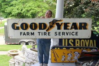 "Large Vintage 1952 Goodyear Farm Tires Tractor Truck Gas Station 72 "" Metal Sign"