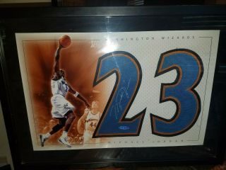Michael Jordan Uda Upper Deck Authenticated 16x20 Wizards Autographed Piece Rare