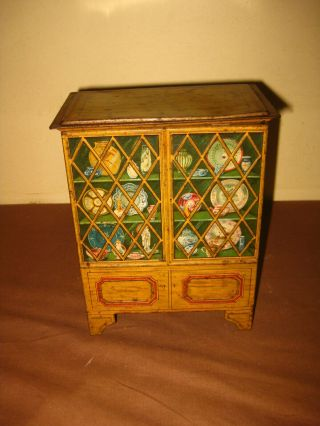 Antique Victorian Huntley & Palmers Biscuit China Cabinet Tin Box Can 1912 Rare