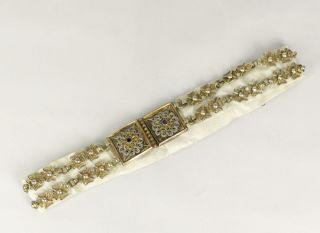 Antique 19/20thc Bedouin Floral Filigree Chain Linked Belt With Ornate Buckle