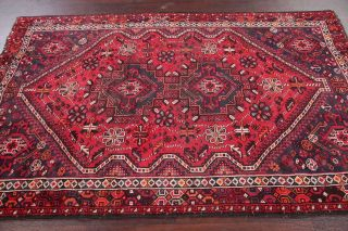 Antique Geometric Tribal Lori Area Rug Hand - Made Oriental Wool Carpet Red 5