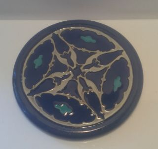 """California Faience Tea Tile 5 1/4"""" Poppy Design In Blue,  Turquoise And Ivory."""