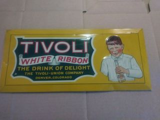 Vintage Tivoli White Ribbon Soda Beer Tin Advertising Sign Crown Cork And Seal