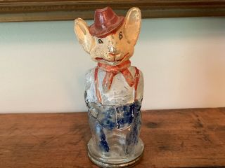 Father Rabbit Wearing Hat Glass Candy Container Paint Rare