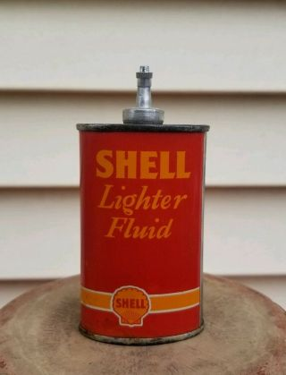 Vintage Shell Lighter Fluid Handy Oiler Oil Can Rare 1937 Oval Lead Top Version