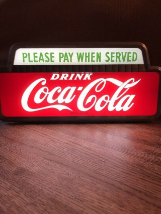Vintage 1950 Coca Cola Please Pay When Served Lighted Cashier Sign