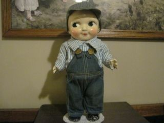 Vintage Advertising Early Composition Buddy Lee Doll In Orig.  Railroad Outfit