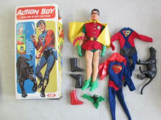 Vintage 1967 Ideal Captain Action Action Boy Figure,  Uniforms,  Equipment,  Box