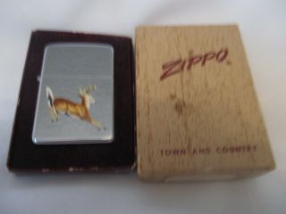 Vintage Zippo Lighter Running Deer - Town & Country Unfired 1959 Pat Pend