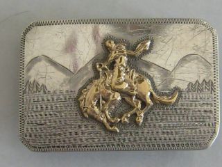 Very Rare Sterling Silver And 10k Gold Srour Buckle