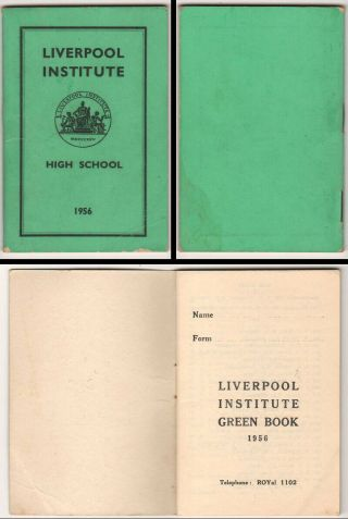 Beatles Ultra Rare 1956 Liverpool Institute Member Book Paul Mccartney & George