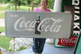 "Rare Grey Large Vintage 1940s Coca Cola Soda Pop Gas Station 59 "" Metal Sign"