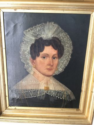 Antique Portrait Oil Painting Of Woman With Lace Hat And Gold Brooch