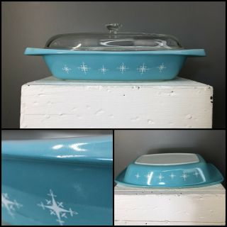 Vtg 60s Turquoise Pyrex Atomic Compass Star 1.  5 Qt Midcentury Oval Casserole Lid