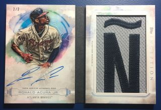 "Ronald Acuna Jr.  2019 Topps Inception ""Ñ"" Letter Book On Card Auto D 2/2 Rare"