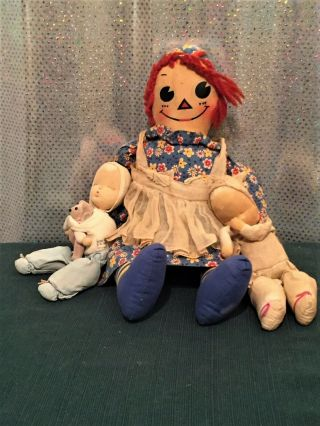 Vintage Raggedy Ann With Two Babies
