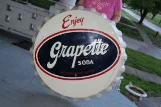 "Large Vintage 1950s Grapette Soda Pop Bottle Cap Gas Oil 38 "" Embossed Metal Sign"