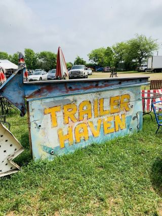 Vintage Trailer Haven Sign With Arrow