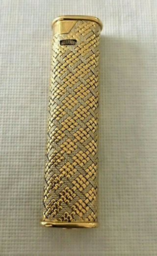 Rare Vintage Dunhill Solid Yellow White18k Gold Weave Cigarette Lighter