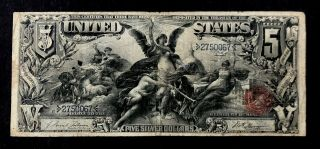 Rare 1896 United States $5 Silver Certificate Educational Large Note Bill