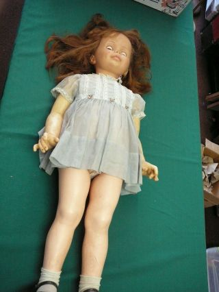 """Vntg 35 """" Tall Ideal Doll G - 35 Red Hair Green Eyes Clothes Patti Playpal"""