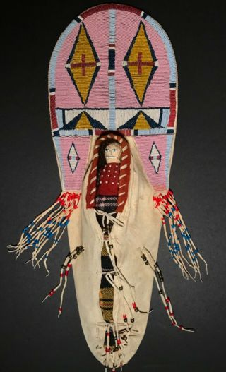 Vintage Plains Child's Toy Doll Beaded Cradleboard,  Probably Crow,  20th C,  Nr