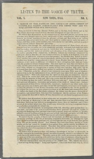 """Rare 1844 Lds Pamphlet By Sam Brannan """" Listen To The Voice Of Truth """" - Mormon"""