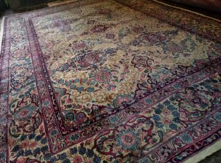 EXTRA LARGE Vintage Handknotted Floral PERSIAN Wool Rug 12x9ft Oriental Keshan 2
